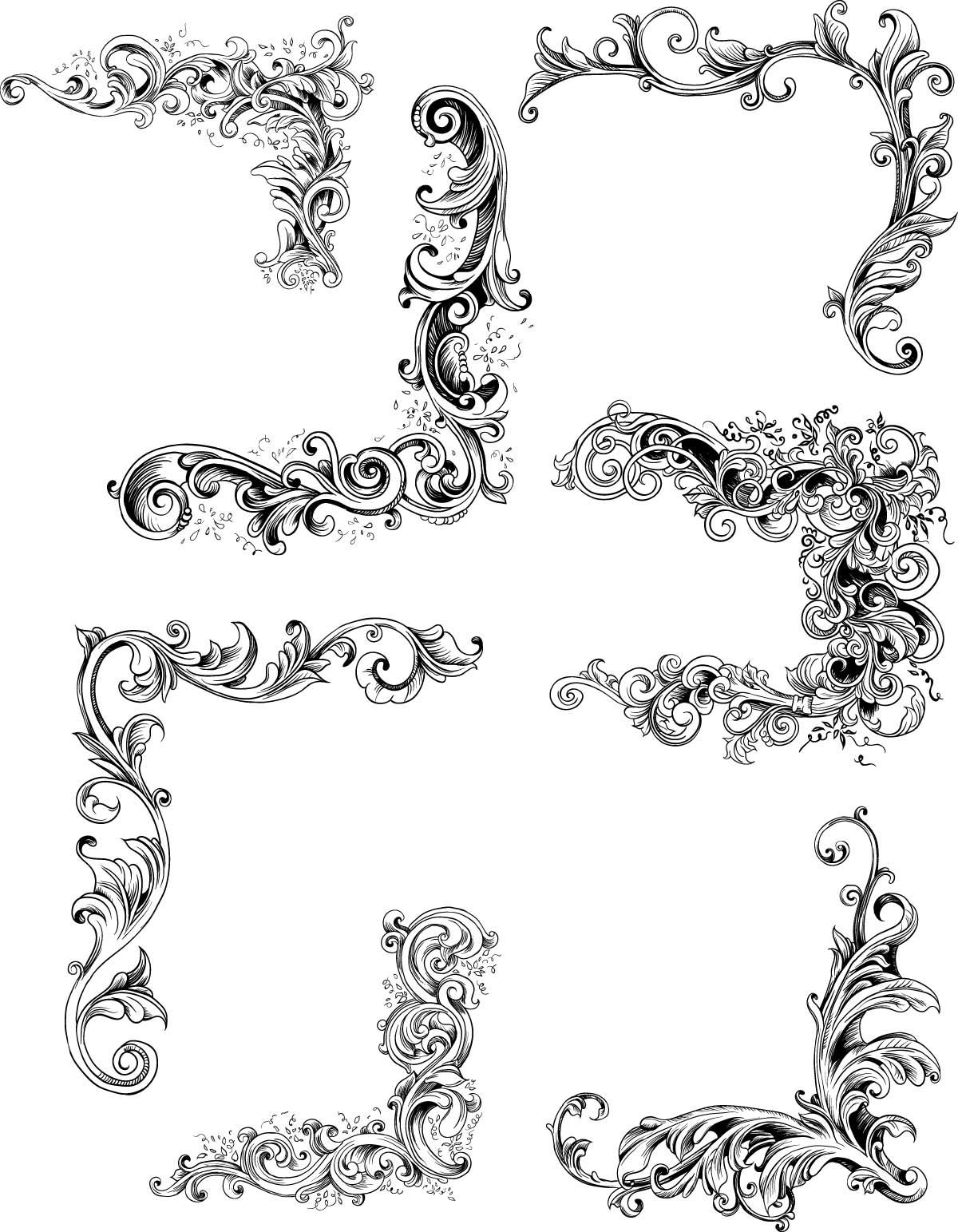 1200x1543 Decorative Elements Vintage Set Vector Free Download