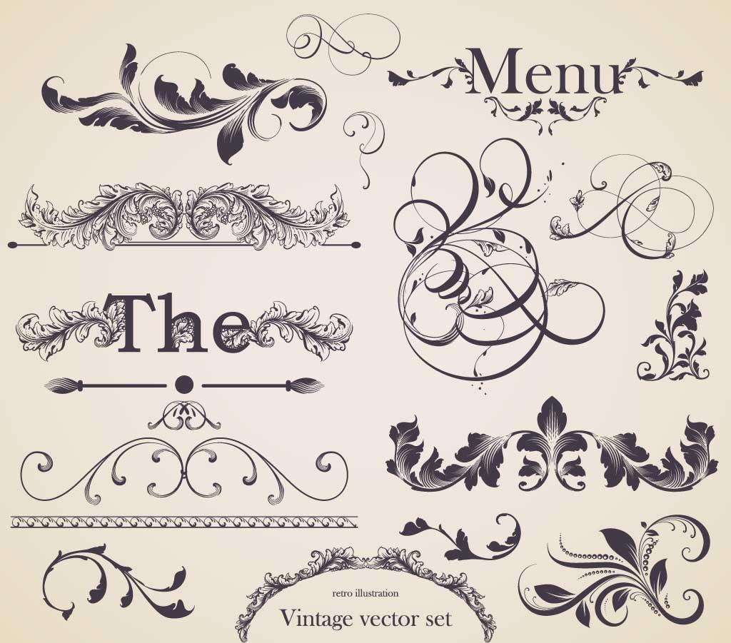 1024x901 Floral Decorative Elements Set Vector Free Download