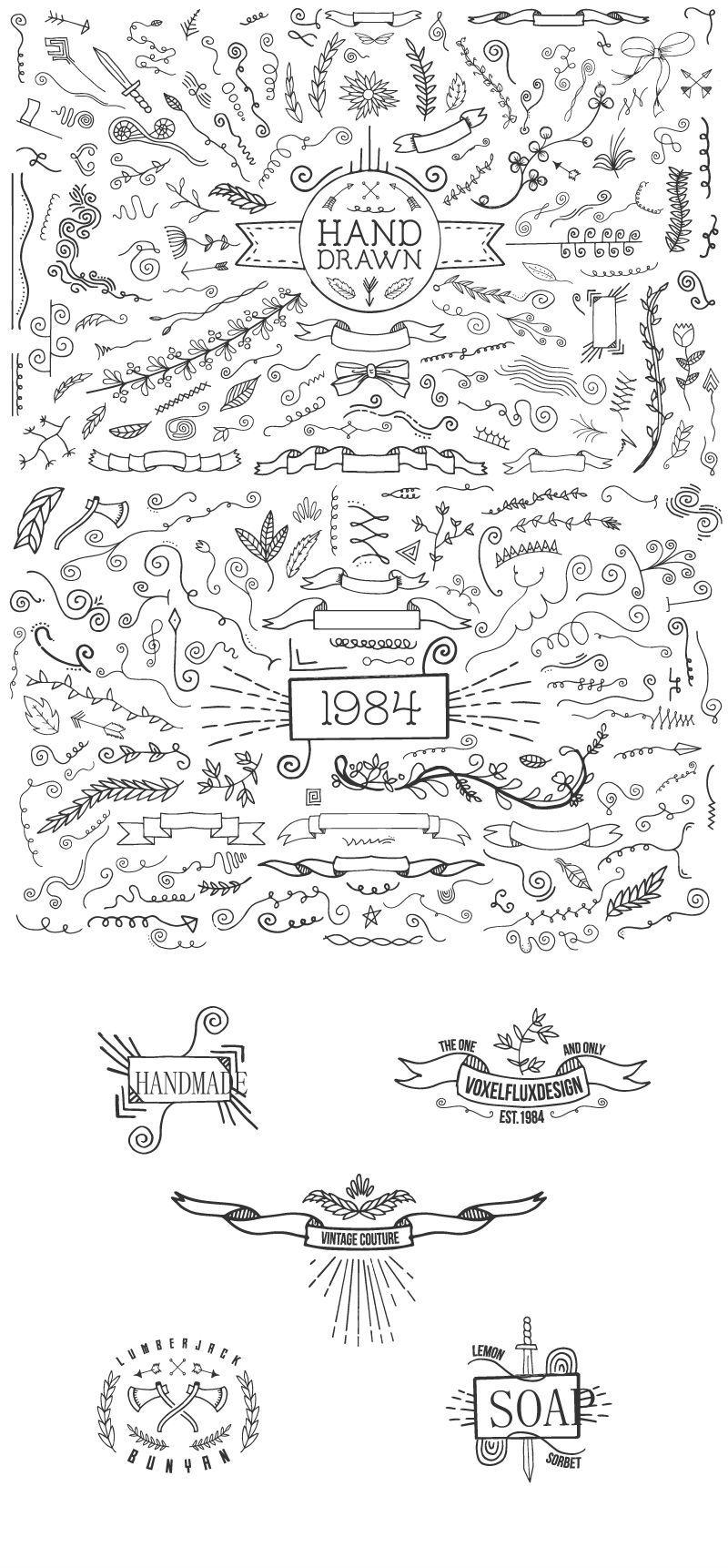 800x1722 Hand Drawn Decorative Elements Design Vector Free Download Files