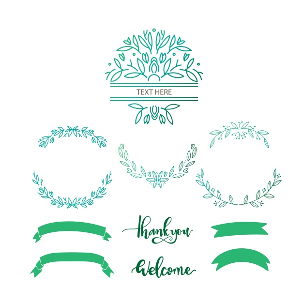 626x626 Ai] Green Decorative Elements Vector Free Download