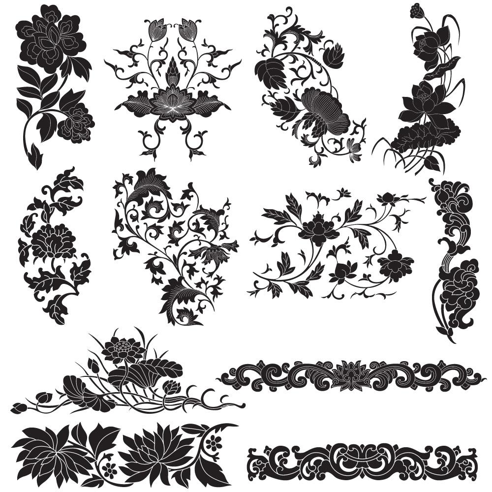 1000x1000 Plant Flourish Decorative Elements Vector 01 Free Download