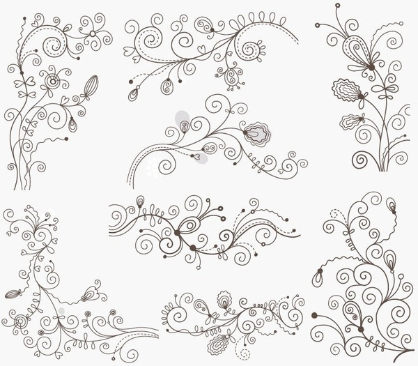 600x525 Swirl Floral Decorative Elements Vector Graphic Set Free Vector In