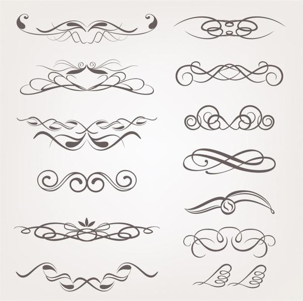 600x595 Vector Calligraphic Decorative Design Elements Free Vector In