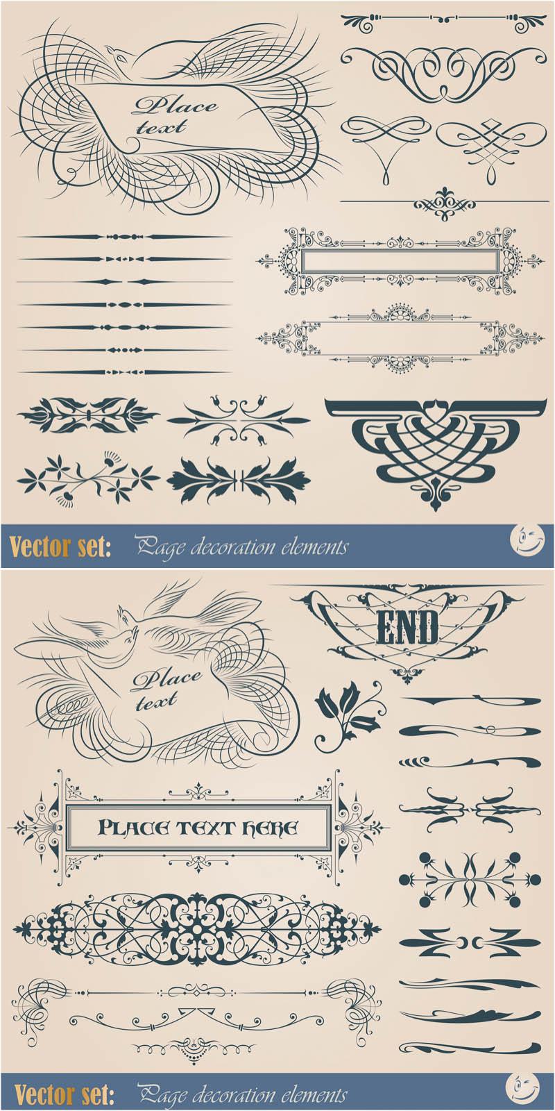 800x1600 Vintage Ornamental Embellishment Elements Vector Free Stock