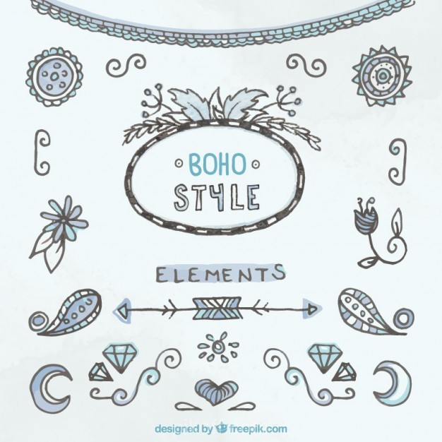 626x626 Ai] Hand Drawn Decorative Boho Style Elements Vector Free Download