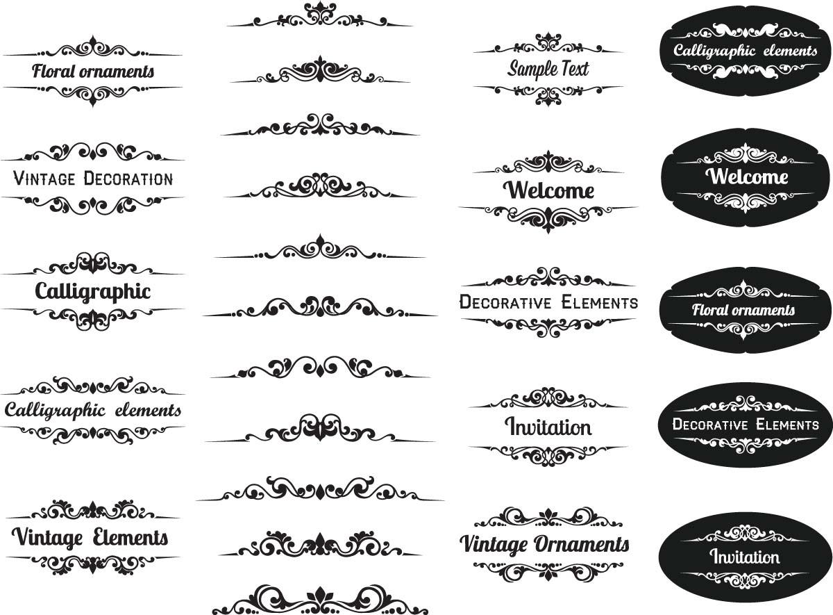 1200x885 Calligraphic Elements Ornamental Set Vector Free Download