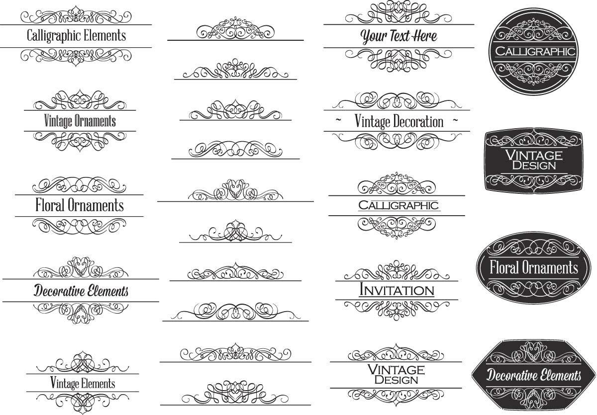 1200x835 Calligraphic Ornaments For Invitations Vector Free Vector Clip