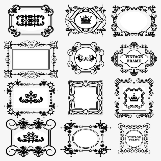 650x650 Decorative Frame Vector, Frame Vector, Retro, Frame Png And Vector