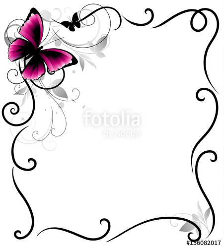 451x500 Decorative Frame With Butterfly And Decorative Lines. Vector