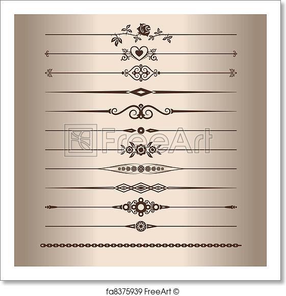 561x581 Free Art Print Of Decorative Lines. Elements For A Vintage Design