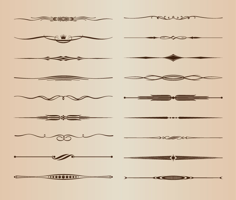 794x674 Vector Set Of Ornamental Design Rule Lines Free Vector Graphics