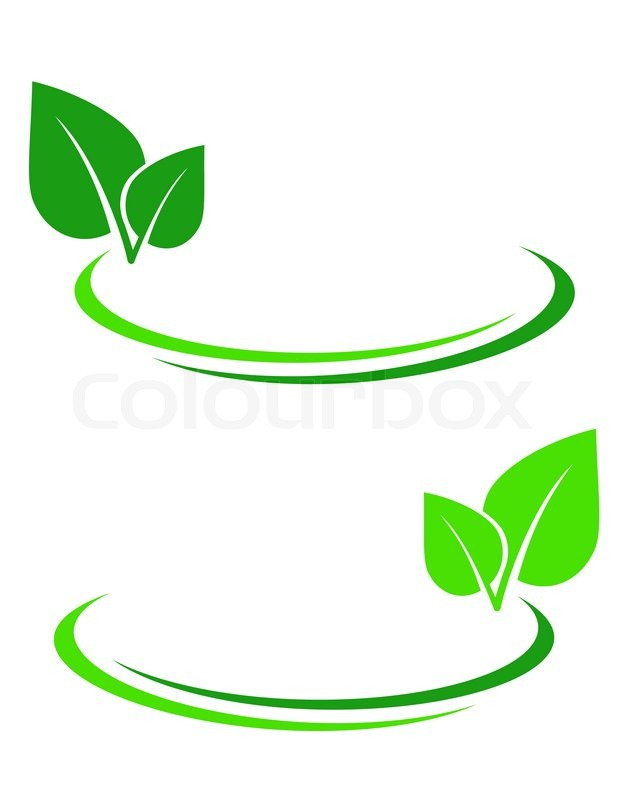 618x800 Background With Green Leaf And Decorative Lines Stock Vector