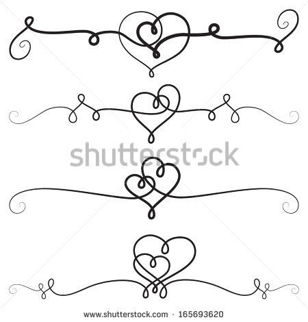 450x470 Decorative Vignettes With Hearts Vintage Borders, Scrolls Vector