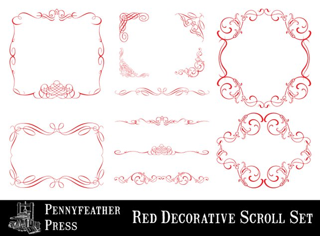 642x475 Red Decorative Ornaments Scrolls And Flourishes Corners Etsy