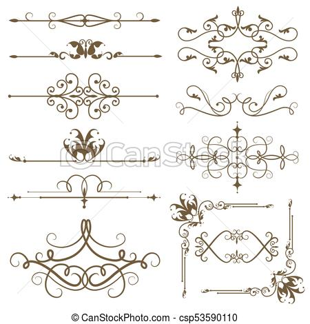 450x470 Antique Decorative Elements, And Scroll Elements, Set