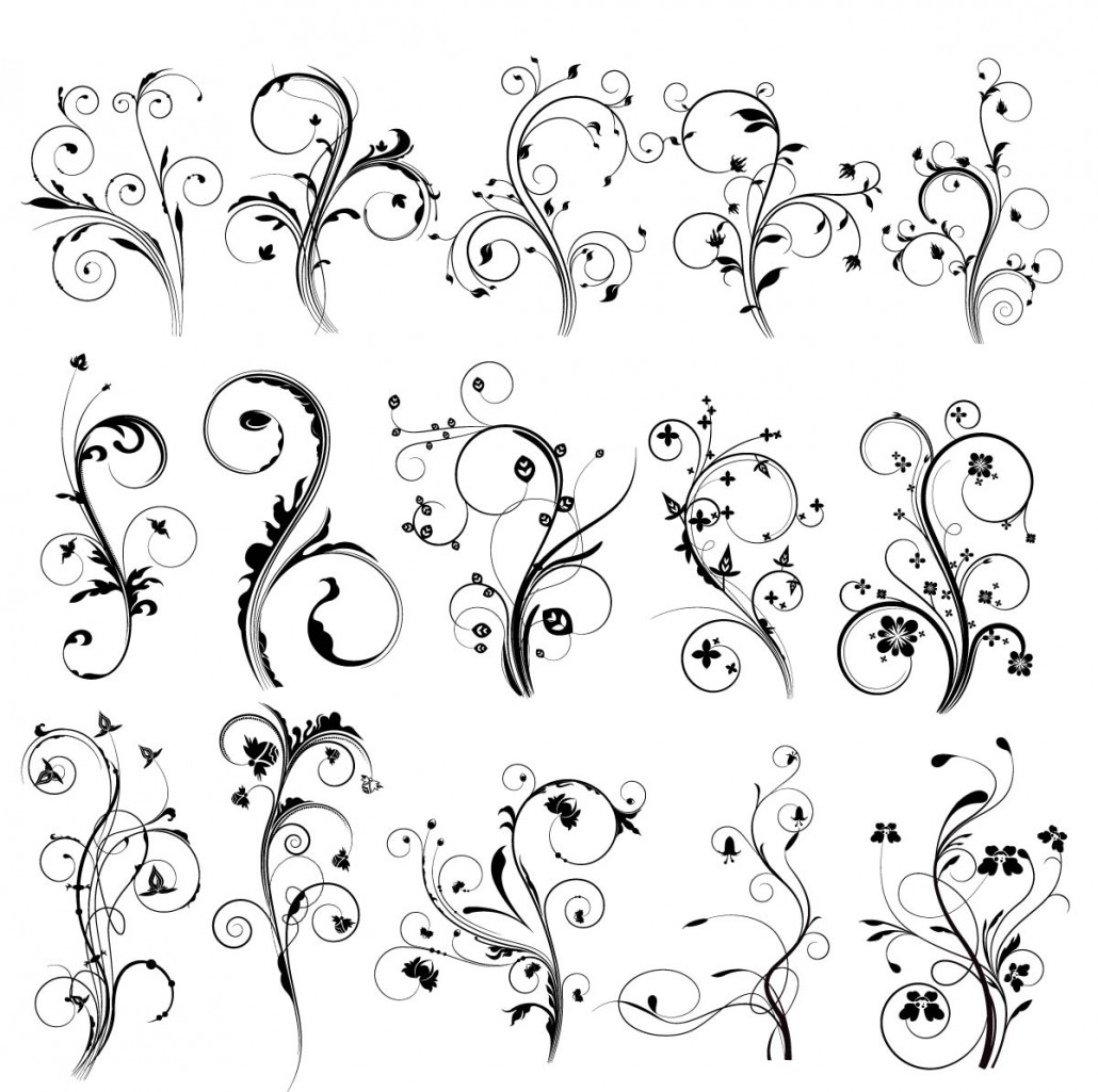 1030x1025 Floral Vintage Elements For Decoration Set Free Download