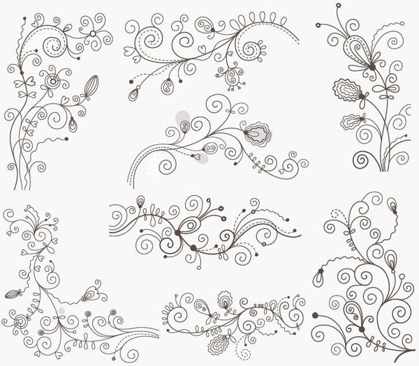 600x525 Free Vector Swirls Vector Swirl Floral Decorative Elements