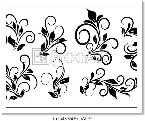 560x470 Free Art Print Of Flourish Swirls Vector Elements. Abstract