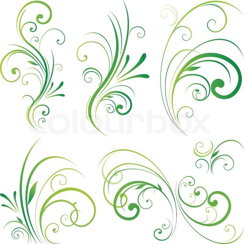 800x800 Spring Floral Decorative Swirls Stock Vector Colourbox