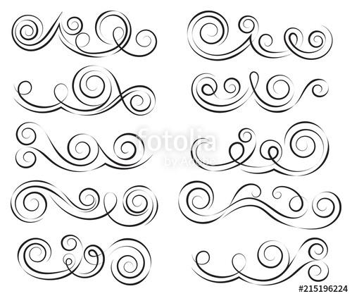 500x420 Swirls Set. Decorative Elements For Frames. Elegant Swirl Vector