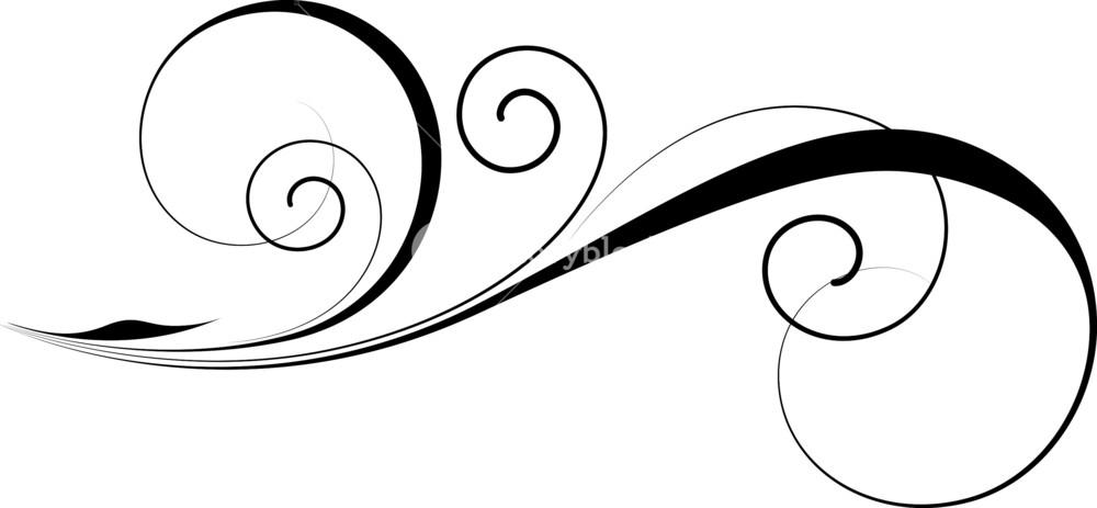 1000x463 Decorative Swirl Vector Royalty Free Stock Image