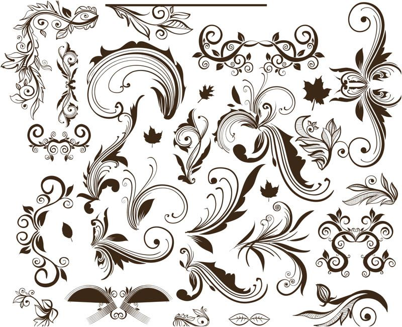 800x650 Ornate Floral Swirls Vector. Set With Classic Style Vector Ornate