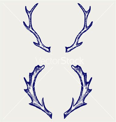 380x400 Collection Of Deer Antler Drawing Designs High Quality, Free