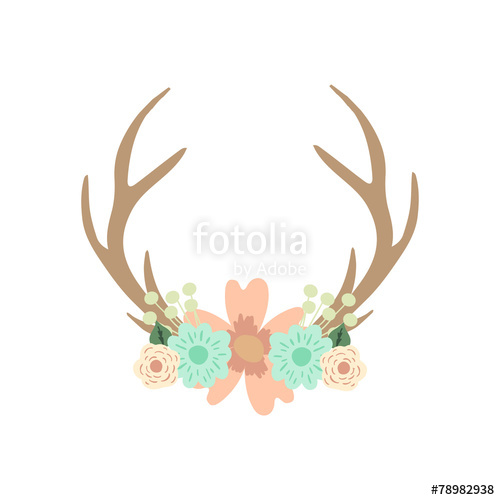 500x500 Deer Antlers And Flowers. Vector Illustration. Stock Image And