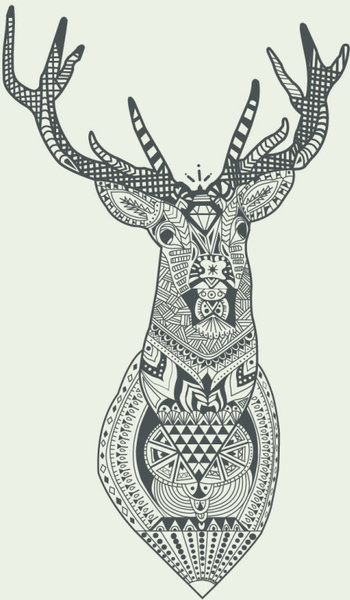 350x600 Floral Deer Head Vector Graphics Free Vector In Encapsulated