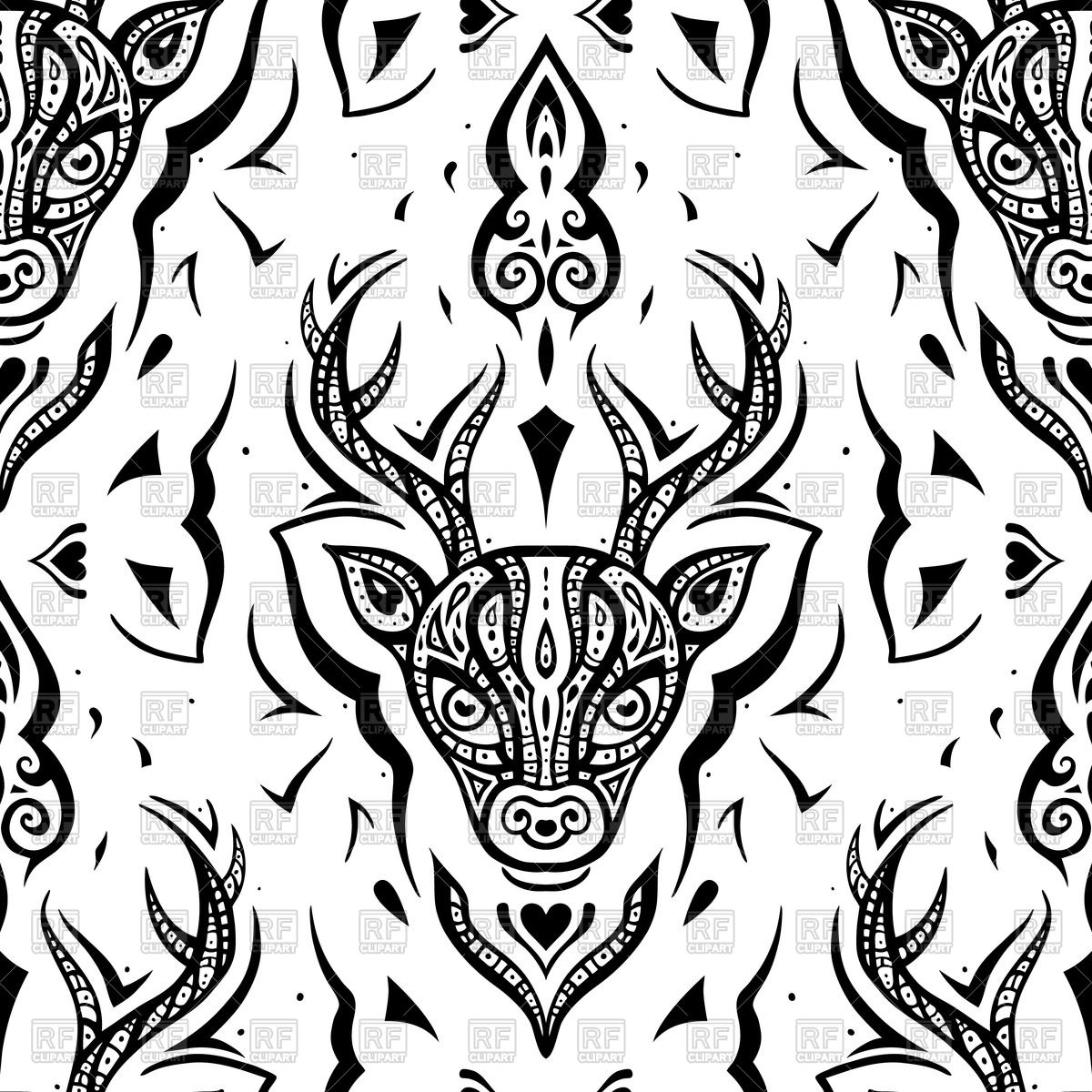 1200x1200 Seamless Pattern With Outline Of Deer Head Vector Image Vector