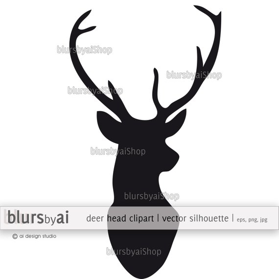 570x570 Vector Deer Head Silhouette Deer Clipart Deer Vector Etsy