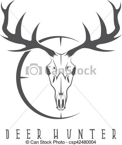 394x470 Deer Skull With Target Vector Design Template.