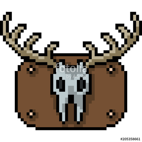 500x500 Vector Pixel Art Deer Skull Stock Image And Royalty Free Vector