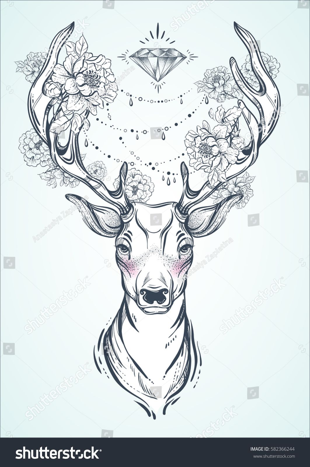 1062x1600 Beautiful Hand Drawn Tribal Style Deer. Vector Deer Head Decorated