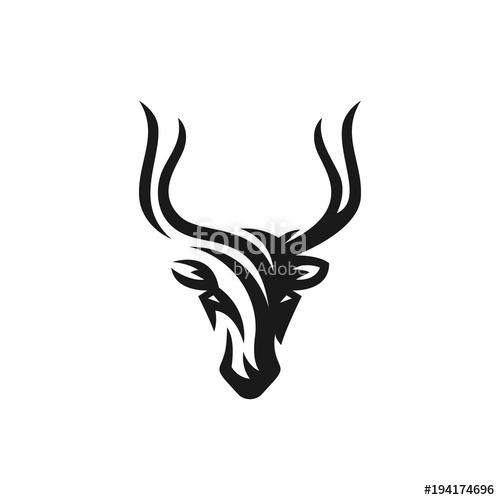 500x500 Deer Vector Logo Illustration On White Background. Antelope Icon