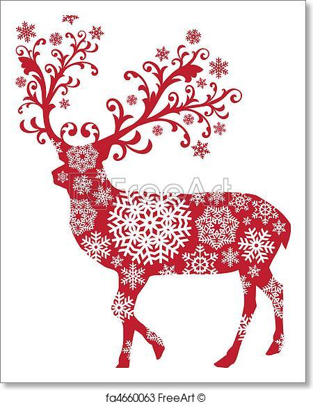 450x580 Free Art Print Of Christmas Deer, Vector . Christmas Deer With