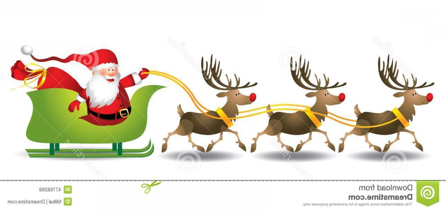 1560x738 Stock Illustration Santa Sleigh Illustration Deer Vector Format