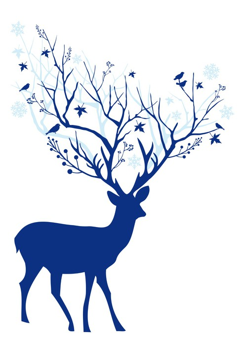 490x700 Blue Christmas Deer, Vector Wall Mural We Live To Change
