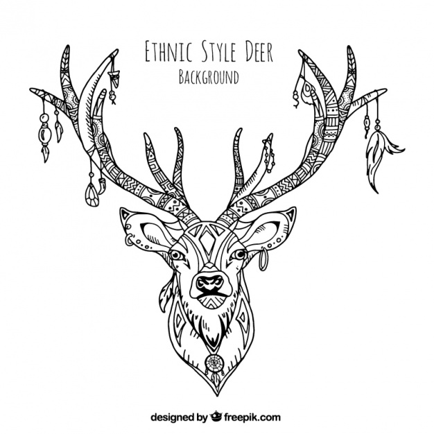 626x626 Decorative Illustration Of Hand Drawn Ethnic Deer Vector Free
