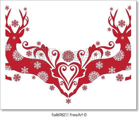 560x470 Free Art Print Of Christmas Deer, Vector. Red Christmas Deer With
