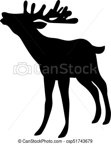 361x470 Vector Silhouette Of Deer. Vector Silhouette Of Beautiful Woodland