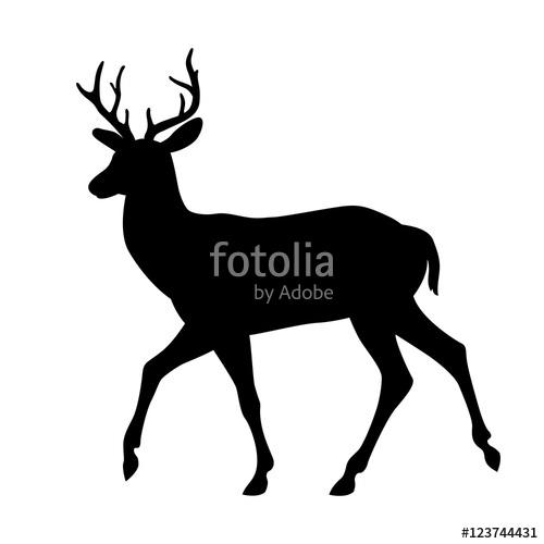 500x500 Deer Vector Illustration Silhouette Black Side View Stock Image