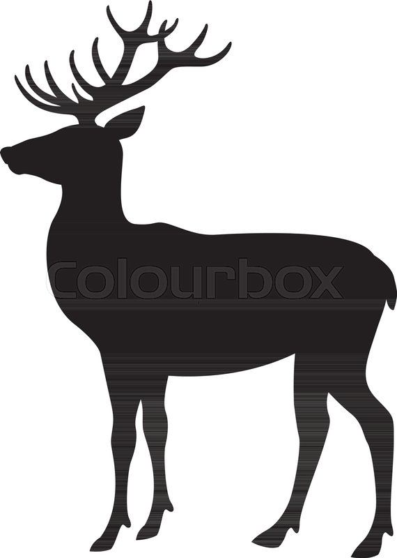 570x800 Deer Vector Illustration Flat Style Black Silhouette Profile Side