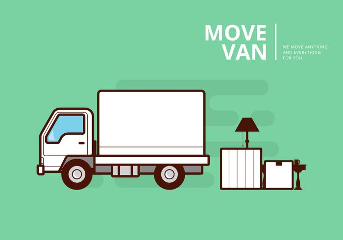 700x490 Moving Van Or Truck. Transport Or Delivery Illustration