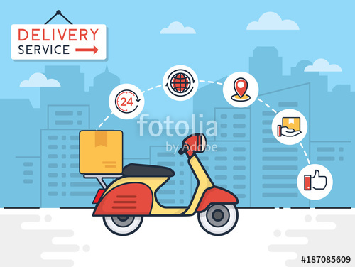 500x376 Delivery Vector Illustration. Delivery Service With Scooter