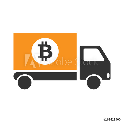 500x500 Bitcoin Delivery Icon Isolated On Backround. Money Delivery.vector
