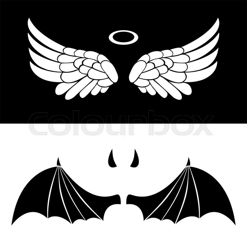 800x800 Angel And Devil Icons. Vector Wings Of Angel And Demon Isolated On