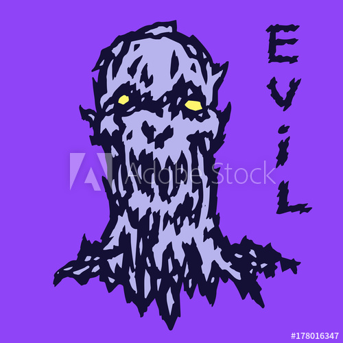 500x500 Scary Head Of The Beastly Demon. Vector Illustration.