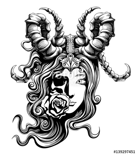445x500 Beautiful Demon Girl Symbolizing Death Stock Image And Royalty