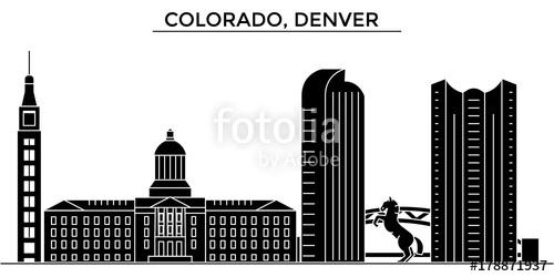 500x250 Usa, Colorado, Denver Architecture Skyline, Buildings, Silhouette